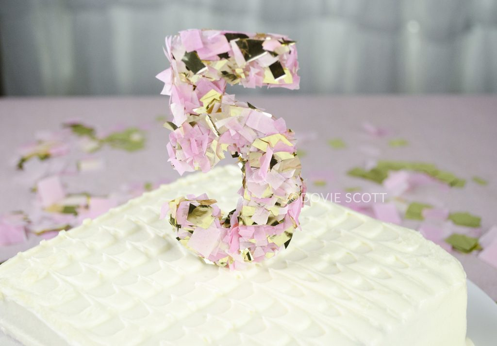 DIY Confetti Number Cake Topper