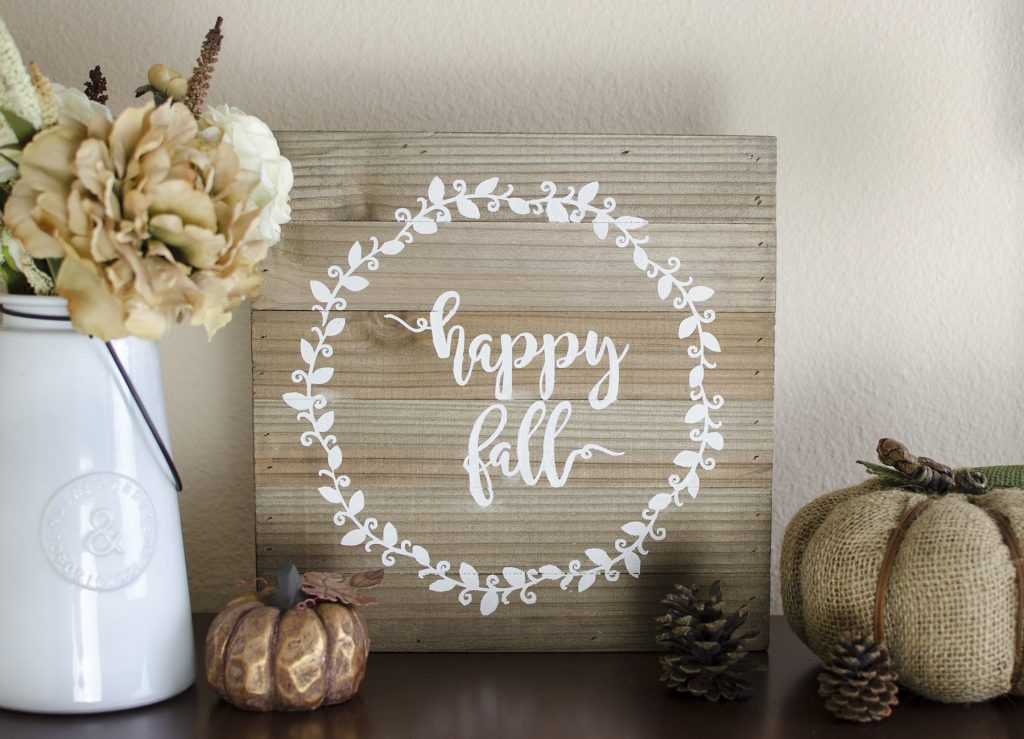 rustic happy fall sign