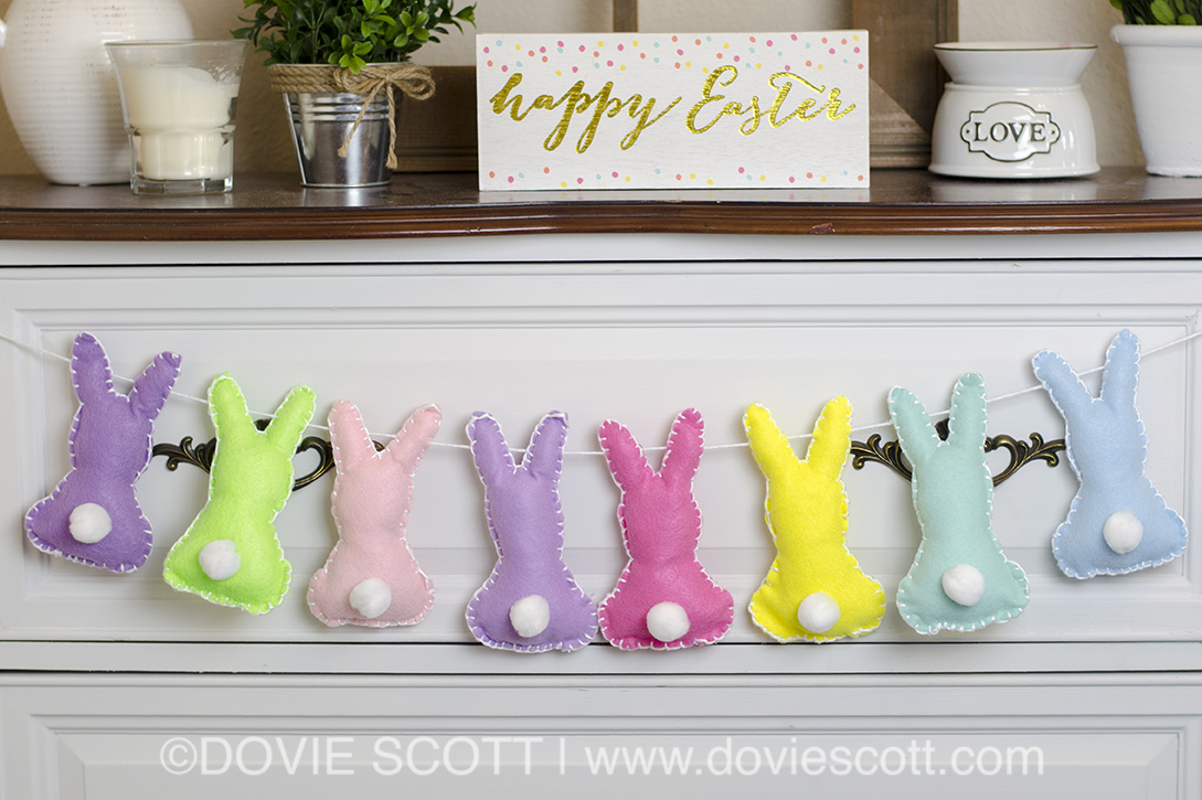 BUNNY BANNER FOR SPRING OR EASTER, EASTER DECORATIONS