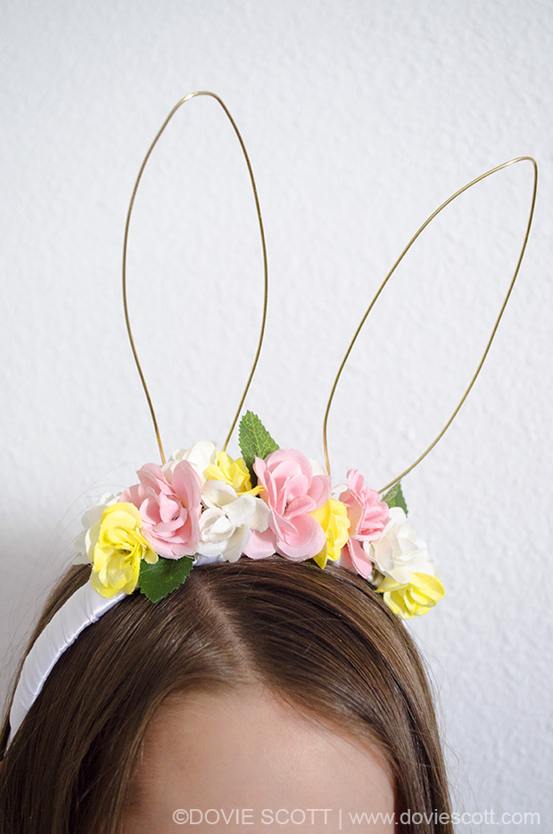 Easter Headband with flowers and bunny ears
