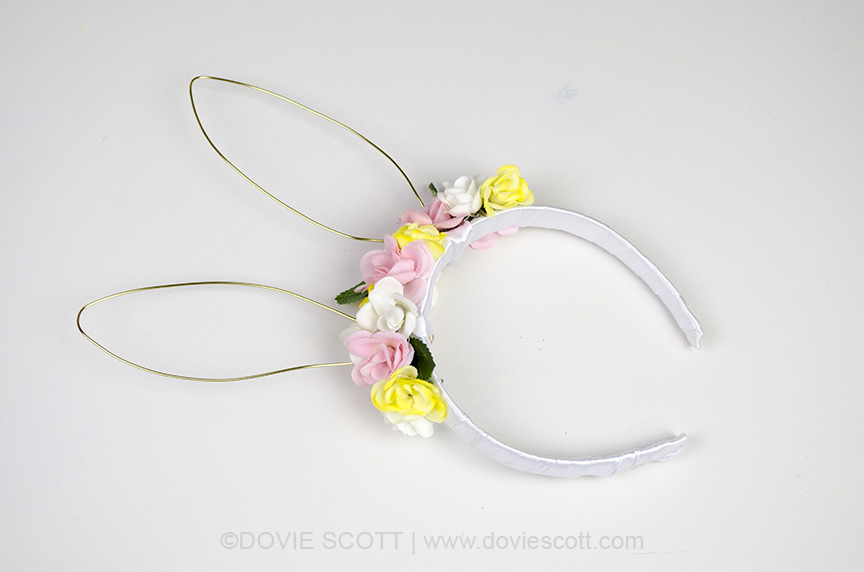 Floral Headband with bunny ears