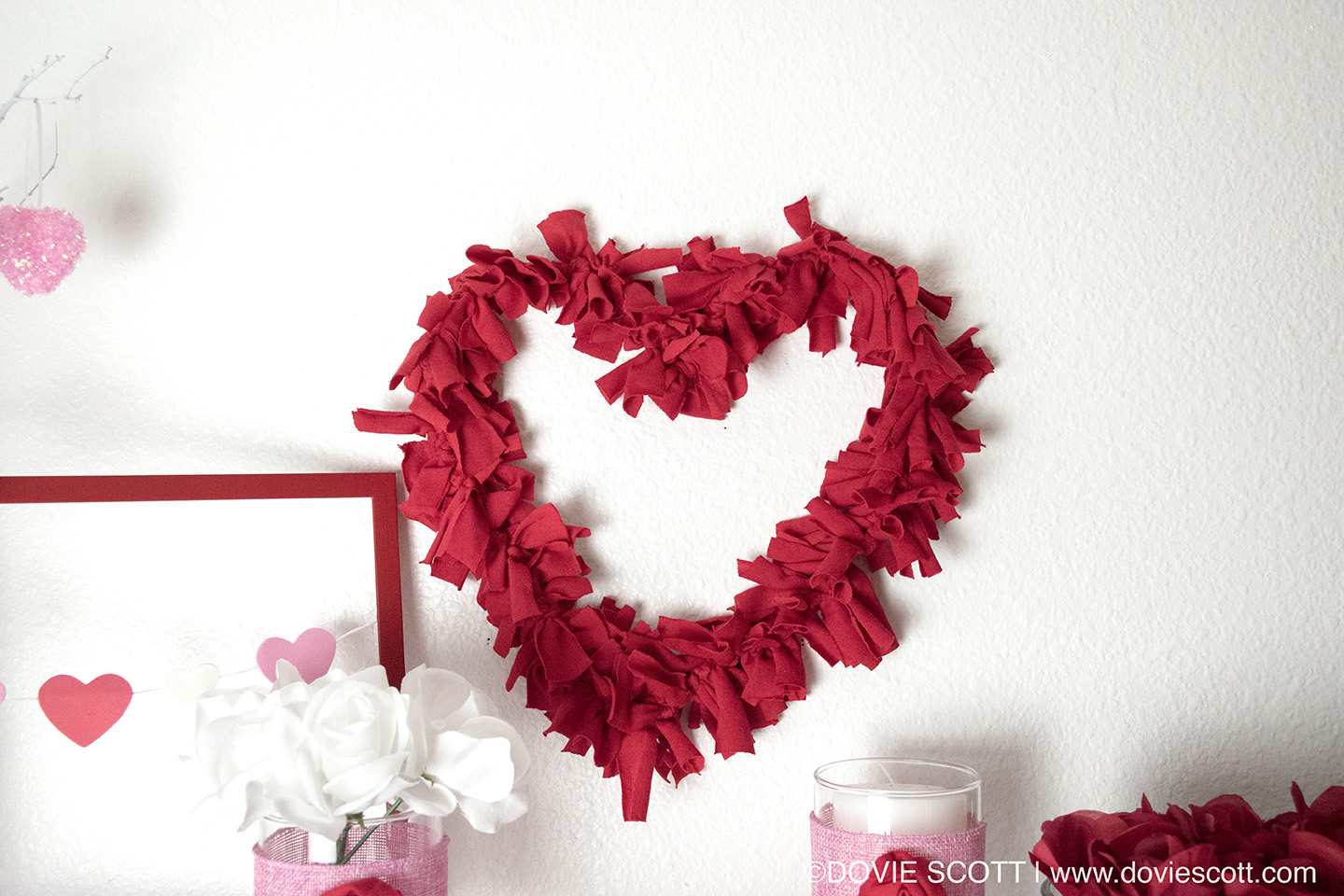 DIY Valentine's Rag Wreath