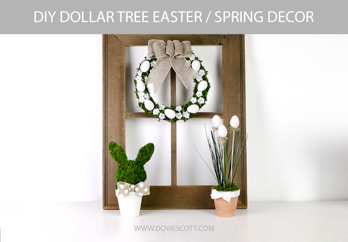 DIY Dollar Tree Easter Decor, DIY Dollar Tree Spring Decor, Easter Farmhouse Decor, Spring Farmhouse Decor, Easter Wreath Tutorial, Bunny Topiary Tutorial, Easter Floral Arrangement Tutorial