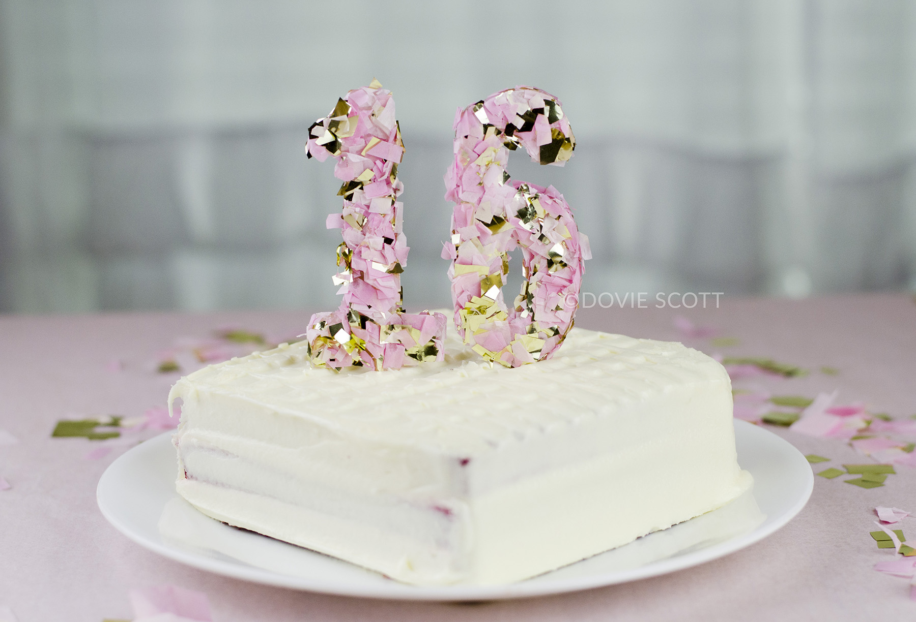 DIY Confetti Number Cake Topper, Sweet 16 Cake Topper